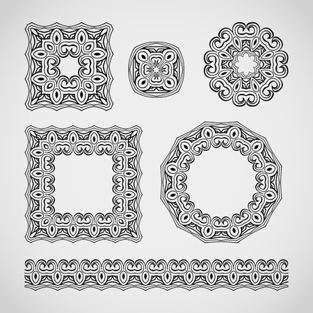 Set of decorative elements. Lacy frames, patterns and border ornament. Vector illustration.