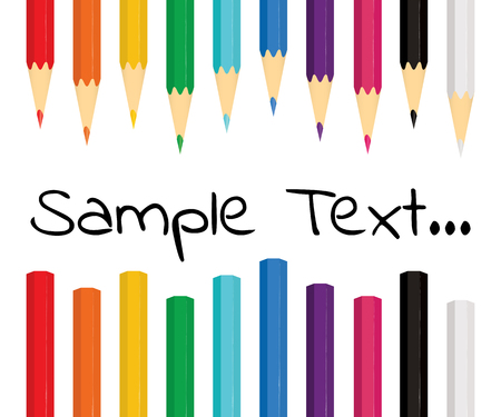 Colorful background with ten colored pencils on white background. Vector illustration.