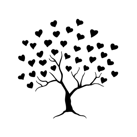 Love tree with leaves from hearts. Abstract tree for wedding or valentine design. Vector illustration.