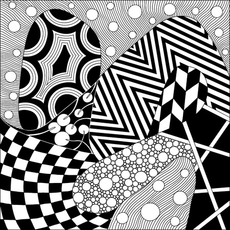 Modern background with mixed ornament. Pattern with various tangles. Easy to edit. Availible to change color. Vector.