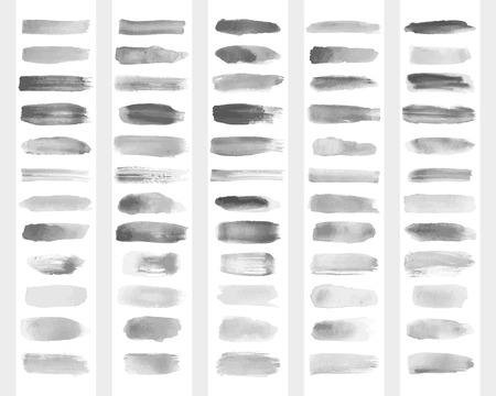Collection of transparent brush strokes for imitation of watercolor drawing. Vector illustration.
