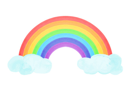 Composition with rainbow and clouds in hand drawn style. Vector illustration. Illustration