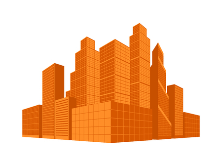 City centre. Downtown area. Business district. Skyscrapers in perspective. Vector illustration.