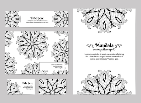 Corporate identity. Business card, invitation, envelope and banner. Floral mandala pattern. 向量圖像
