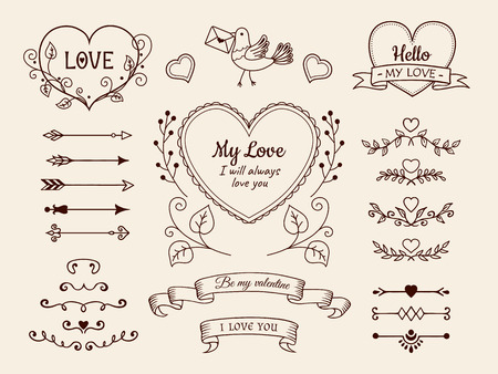 Valentine and wedding design elements. Hand drawn arrows, hearts, dividers, ribbon banners. Vector illustration.