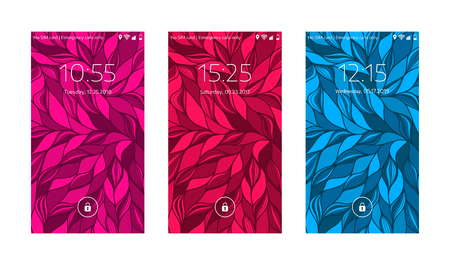 Three mobile wallpapers. Wave texture. Mobile interface. Vector illustration.