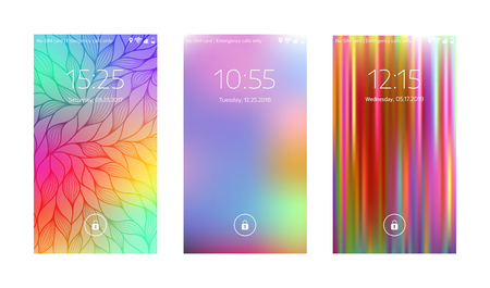 Three mobile wallpapers. Abstract blurry background. Mobile interface. Vector illustration. 向量圖像