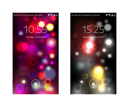 Two mobile wallpapers. Abstract blurry pattern. Mobile interface. Vector illustration.