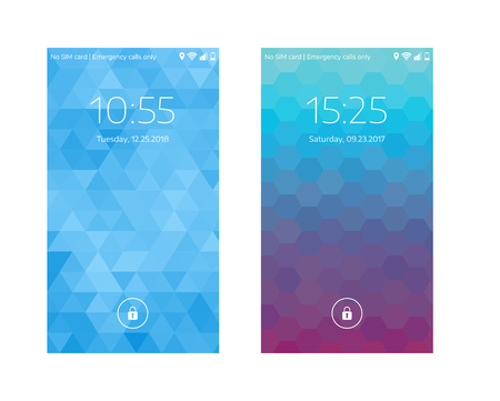 Two mobile wallpapers. Geometric pattern. Mobile interface. Vector illustration.