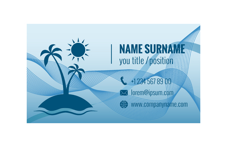 Business card template for travel agency. Corporate identity. Vector illustration. 版權商用圖片 - 87861867