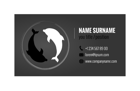 Business card template with Yin Yang Symbol. Corporate identity. Vector illustration.
