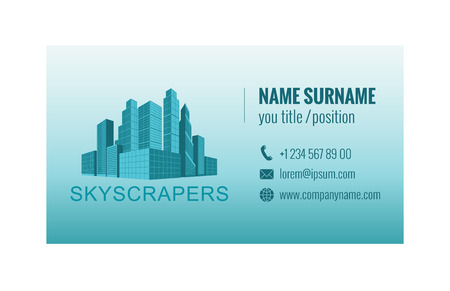Business card template for real estate agency. Corporate identity. Vector illustration.