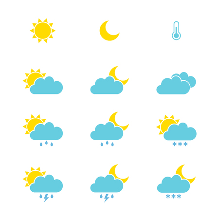 Set of weather icons for web or mobile. Vector illustration 向量圖像