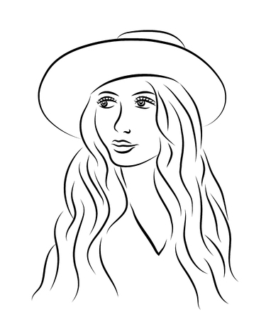 Portrait of beautiful young woman in hat. Sketch style. Line vector illustration. 向量圖像