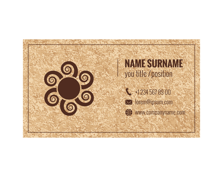 Business card template with grunge texture background. Corporate identity. Vector illustration.