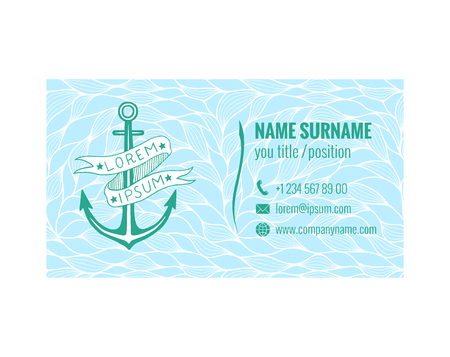 Business card template for yacht club, sea transport or travel agency. Nautical design. Vector illustration.