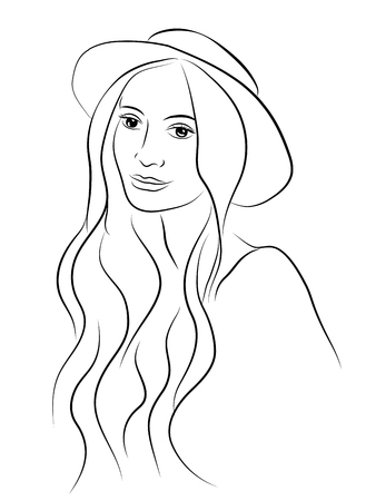 Portrait of beautiful young charismatic woman in hat. Sketch hand drawn style. 向量圖像