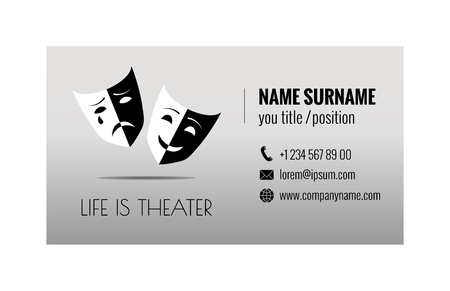 Business card template for ticket agency. Selling theater tickets. Corporate identity. Vector illustration. 向量圖像