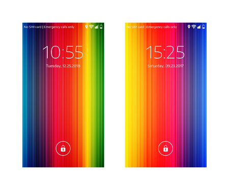 Two mobile wallpapers. Abstract background. Mobile interface. Vector illustration. 版權商用圖片