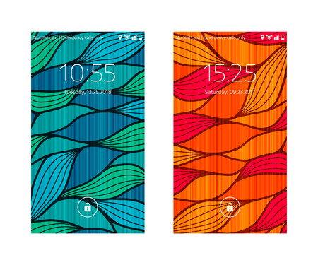 Two mobile wallpapers. Wave texture. Mobile interface. Vector illustration.