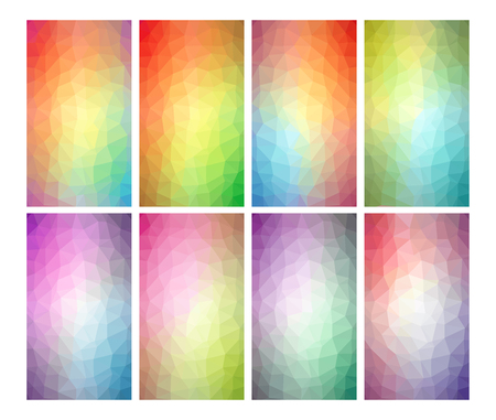 Set of 8 low poly backgrounds for mobile or web design. Polygonal geometric texture. Vector illustration. 版權商用圖片