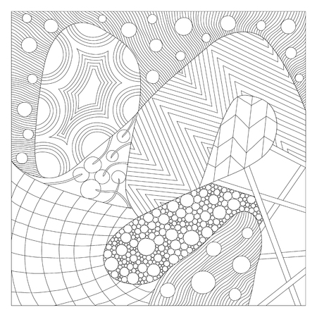 Illustration for coloring book for adult. Zentangle art. Various tangles ornament. Editable paths. Vector illustration. 向量圖像