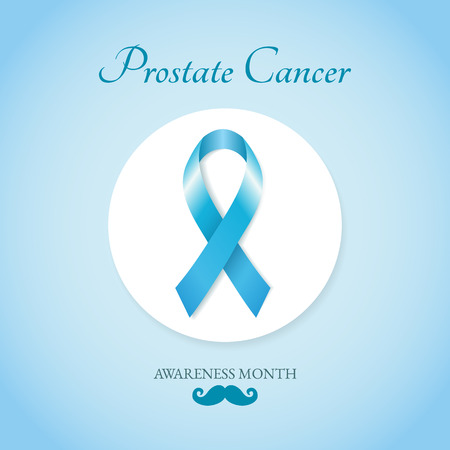 Prostate cancer card with blue ribbon and mustache. Vector illustration.
