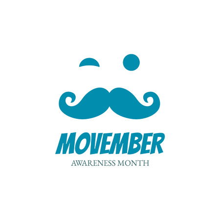 Face with mustache symbolize Movember Awareness Month. Vector illustration. 向量圖像