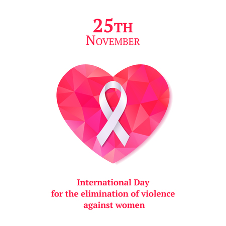 Beautiful card with white ribbon and pink heart for International Day for the Elimination of violence against women. 向量圖像