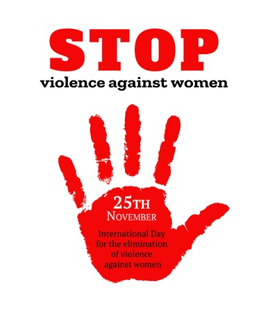 Card for international day for the elimination of violence against women. Red female handprint vector illustration. Vettoriali