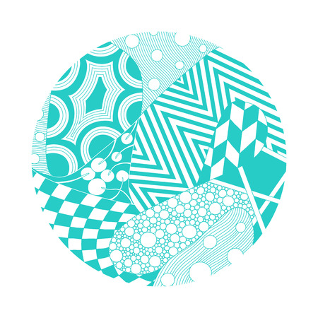 Circle illustration with different ornaments for design of coaster, cd disk, flyer, cover, print for t-short, etc. 向量圖像