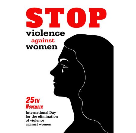 Poster design for international day for the elimination of violence against women vector illustration. Vettoriali