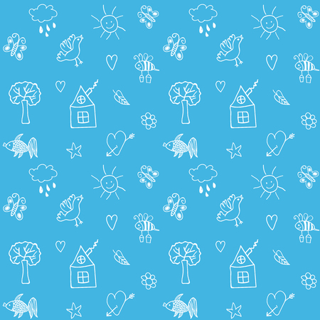 Hand drawn seamless pattern. Summer background. Vector illustration.