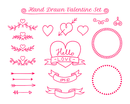 Valentine Day doodle elements. Collection of design elements for cards, invitations, etc. Vector illustration.