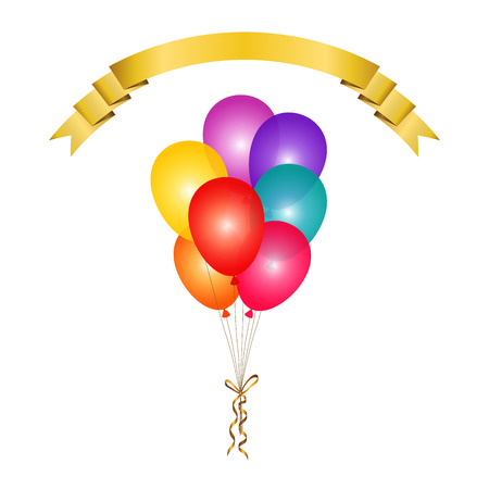 Bunch of colorful transparent balloons isolated background and gold ribbon banner for text. Vector illustration. 向量圖像