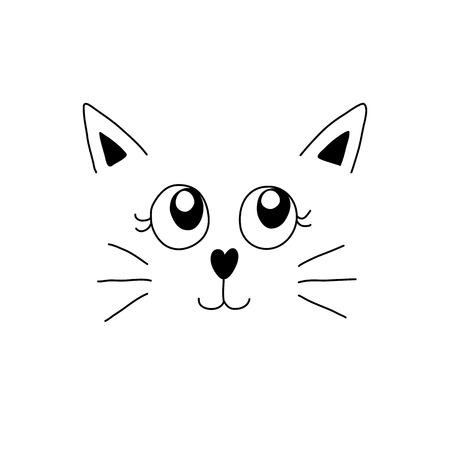 Minimal cartoon image of cute cat face. Vector illustration.