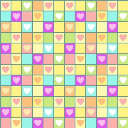 Valentine seamless pattern with hearts and cages. Vector illustration