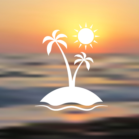 Enjoy the summer. Vector illustration with sun, sea, palm tree and sunset.