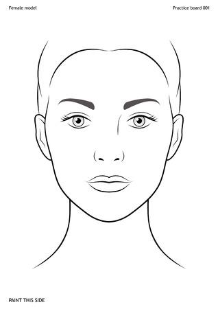 페이스 페인팅 연습 보드. 여성의 얼굴. 크기 A4. 벡터 템플릿입니다. 스톡 콘텐츠 - 96730357