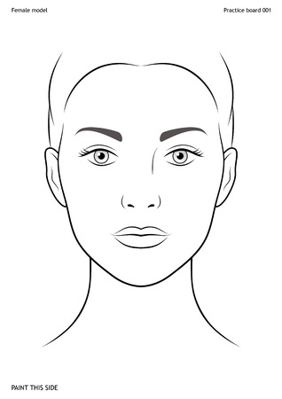 Practice board for face painting. Female face. Size A4. Vector template.