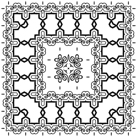 Beautiful tile ornament. Square pattern. Vector illustration.