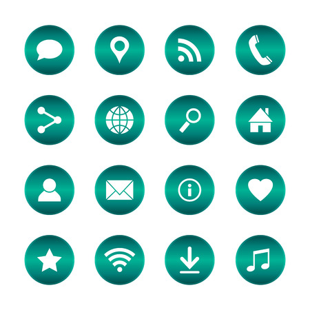 Set of popular web icons. Vector circle buttons with basic icons. Isolated background.