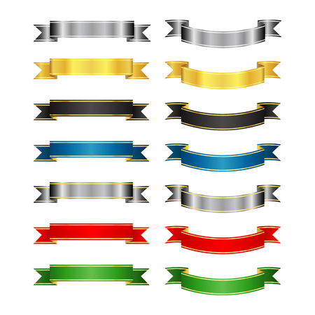 Set of colored vector ribbons and banners