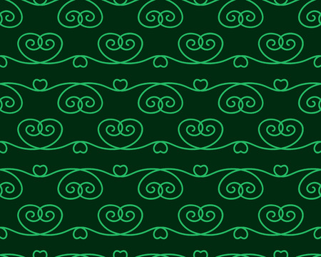 Green seamless pattern with ornament. Vector illustration.