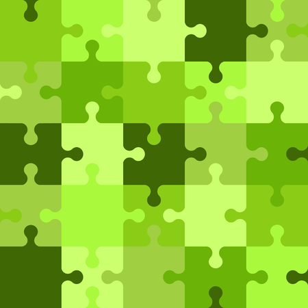 Puzzle seamless pattern. Green abstract background. Vector illustration.