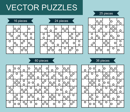 Set of various blank puzzles. Vector illustration. 向量圖像