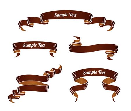 Set of brown vintage scroll ribbon banners. Vector illustration. 版權商用圖片 - 96730550