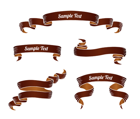 Set of brown vintage scroll ribbon banners. Vector illustration.