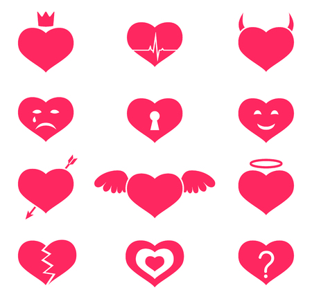 Heart icons isolated. Love emotions. Vector illustration. 向量圖像