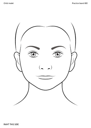Practice board for face painting. Child face. Size A4. Vector template. Illustration